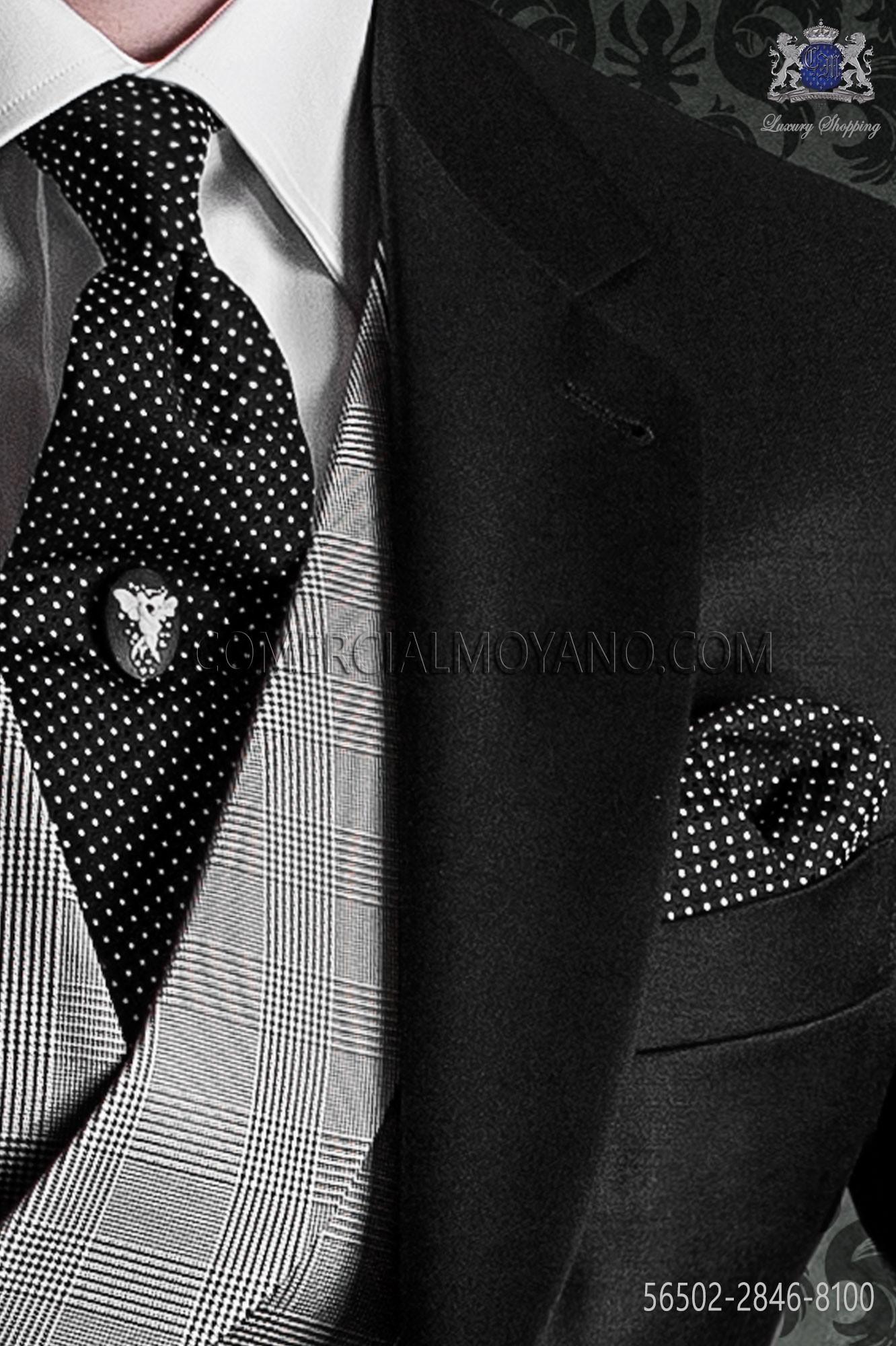 47ad12cd55f9 Black Polka Dots Tie And Handkerchief Pure Jacquard Silk Ongala. Mens Black And  White ...