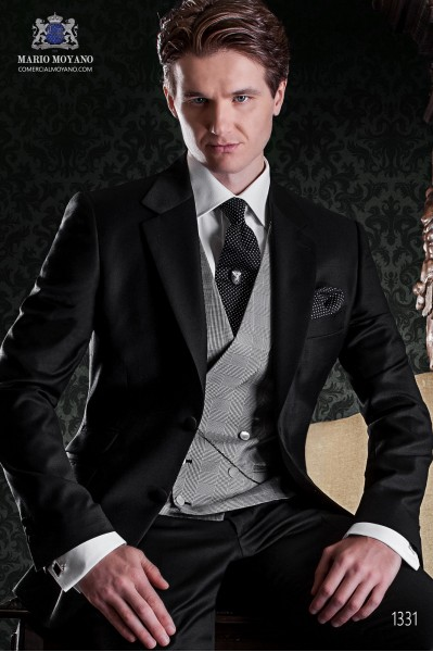 "Italian tailoring suit ""Slim"" two buttons black wool fabric 1331 Ottavio Nuccio Gala"
