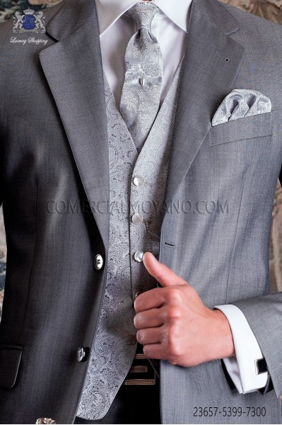Chaleco de novio sastrería italiana en jacquard gris plata,corte recto 5 botones Ottavio Nuccio Gala