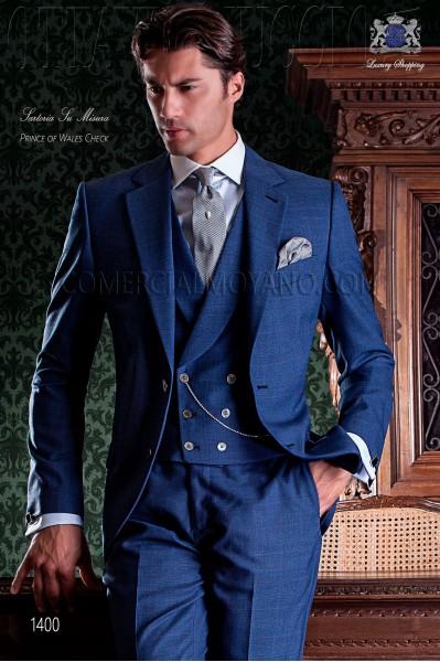 """Costume de couture italienne coupe élégante """"Slim"""" deux boutons. Prince de Galles tissu bleu."""