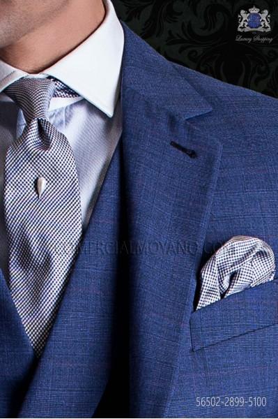 Houndstooth silk tie & handkerchief