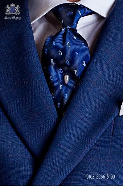 Blue silk tie with cachemire silver designs