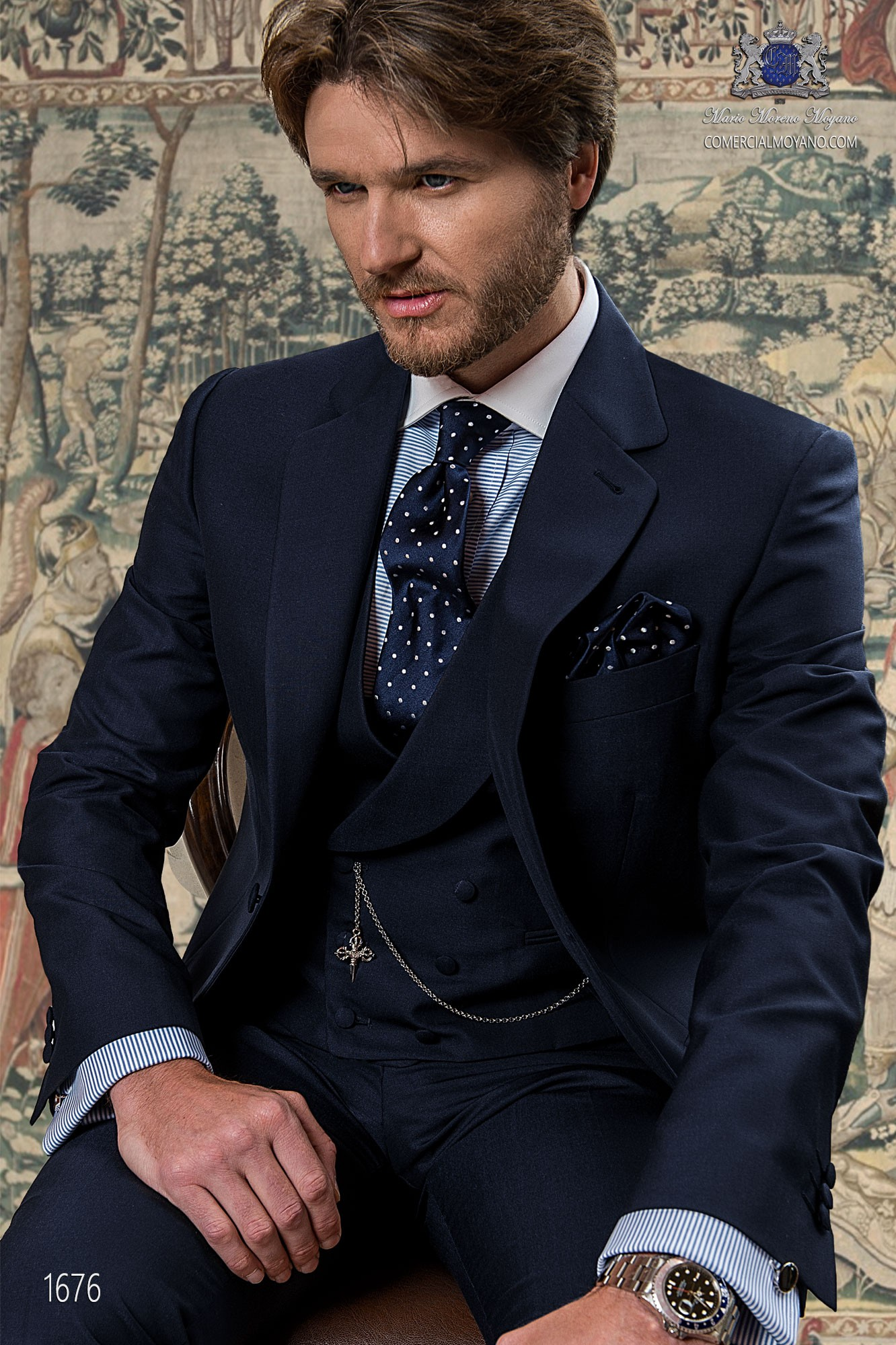 Gentleman blue men wedding suit model 1175 Ottavio Nuccio Gala