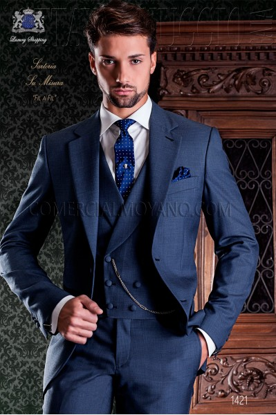 Blue sharkskin italian slim tailoring men suit