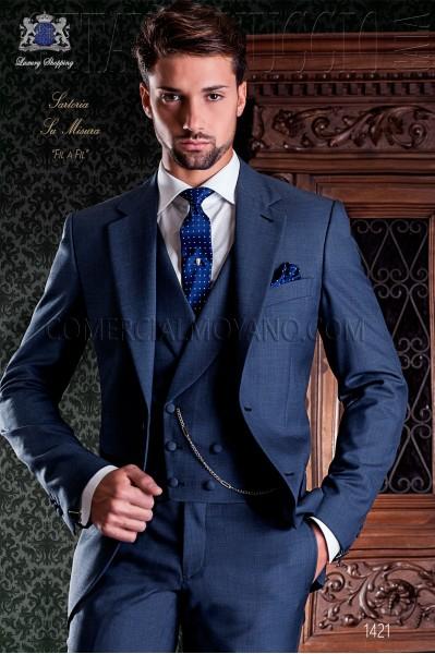 "Traje azul fil a fil de sastrería italiana corte ""Slim"" dos botones"