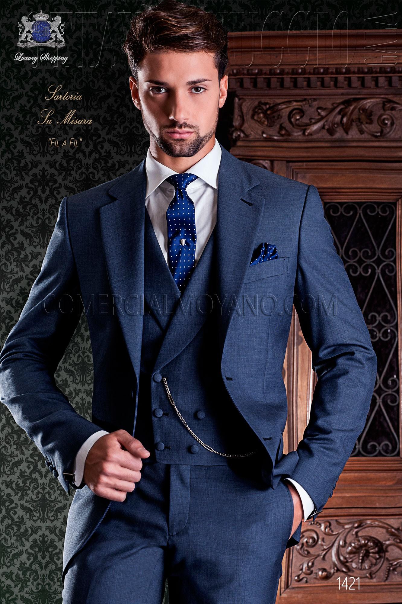 Italienisch Klassischer Blaue Hochzeitsanzug Ottavio Nuccio Gala