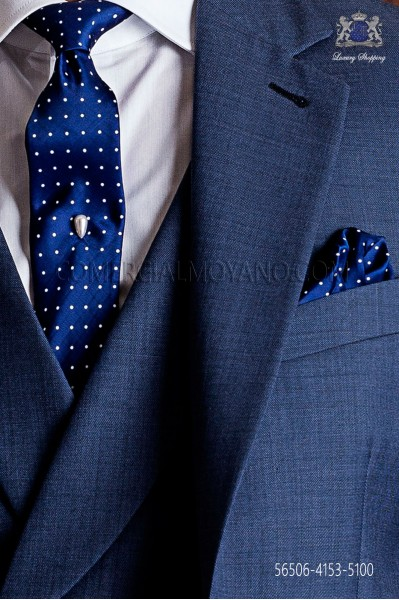 Blue with white polka dots narrow tie and handkerchief