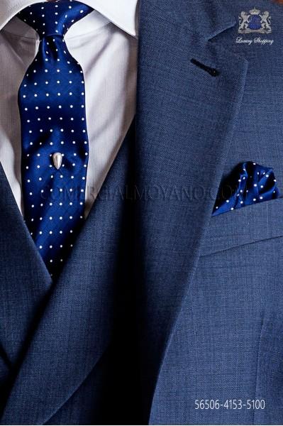 Blue with white polka dots narrow tie and handkerchief