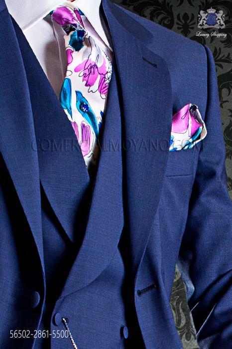 Blue and purple floral stamped silk tie & handkerchief