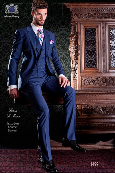 Royal blue Italian slim men suit two buttons