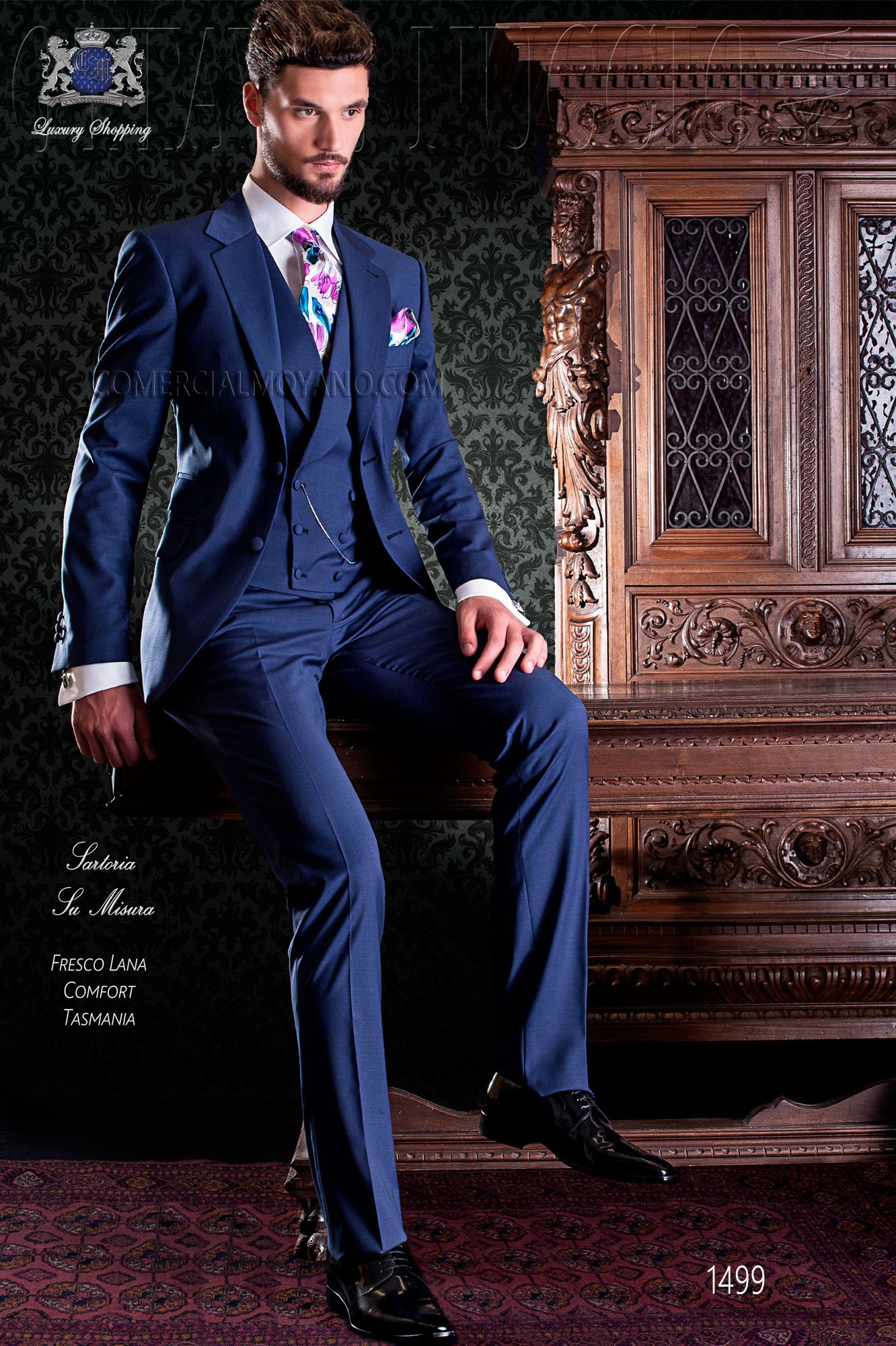 Royal blue Italian groom suit two buttons
