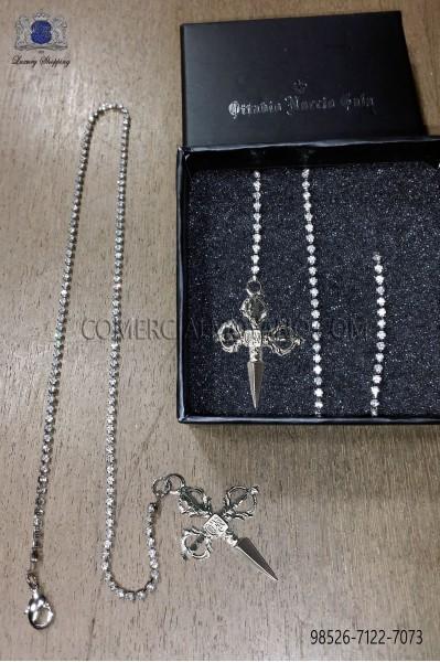 Cadenita strass plata con colgante espada