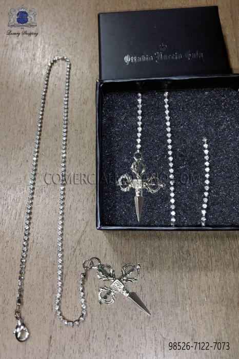 Silver strass chain with sword pendant
