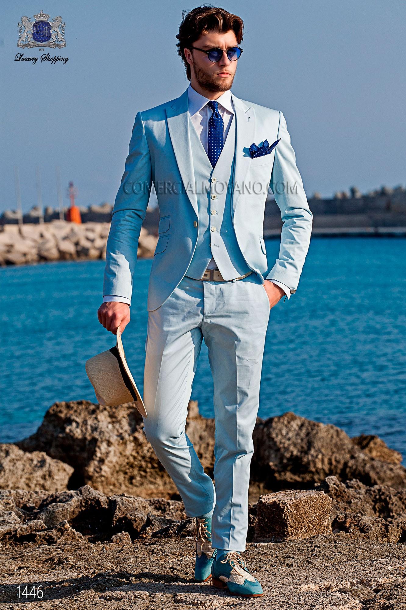 Modern groom suit, light blue, Italian slim fit Ottavio Nuccio Gala