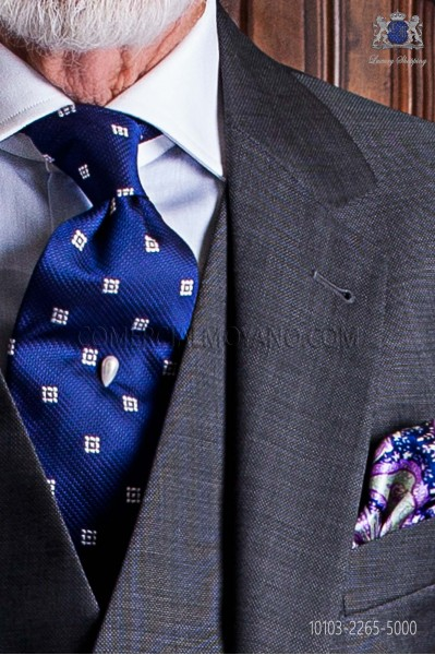 Blue silk tie with check silver designs