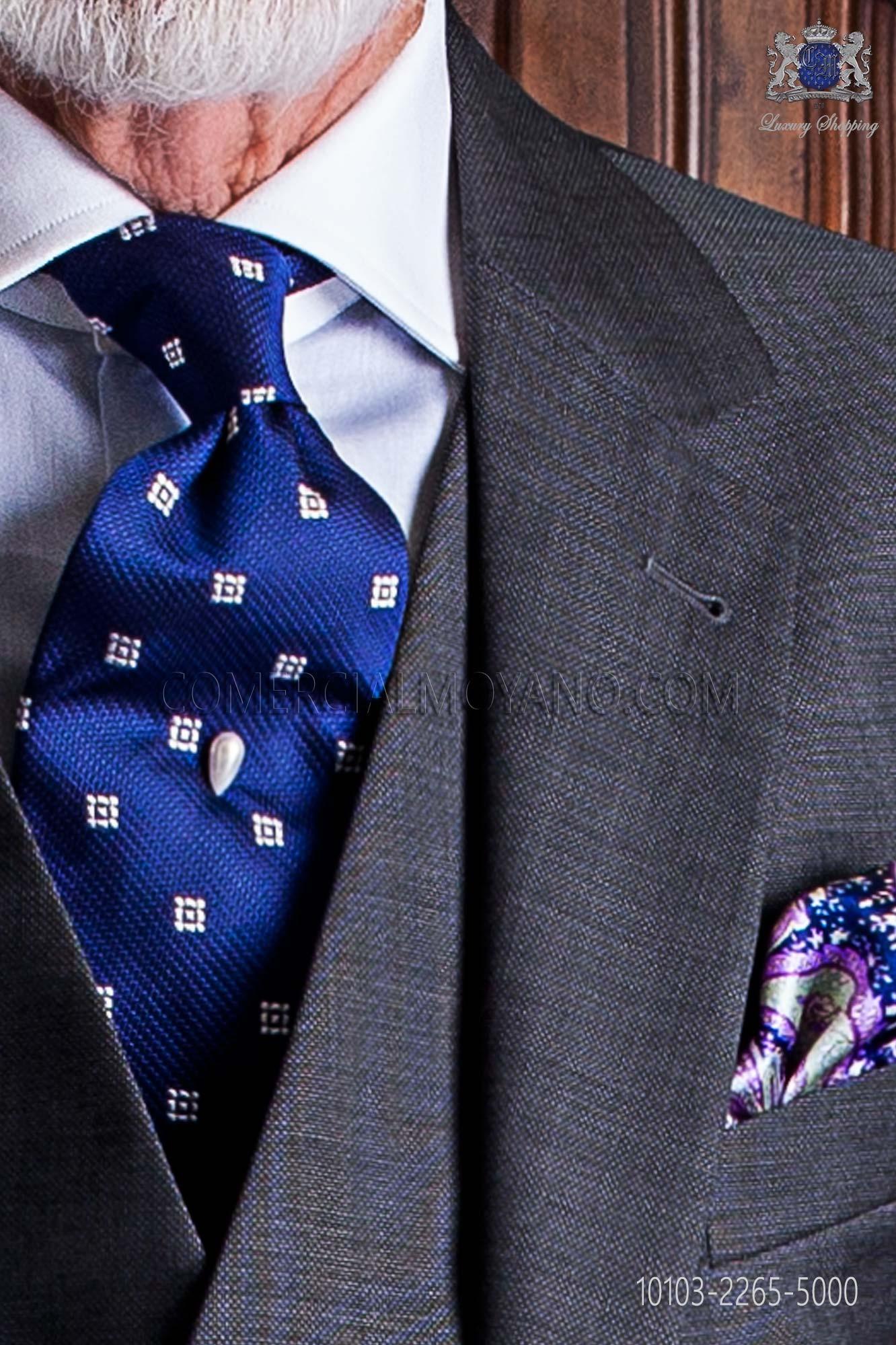 Corbata azul con dise os cuadrados plata en pura seda jacquard for Disenos de corbatas