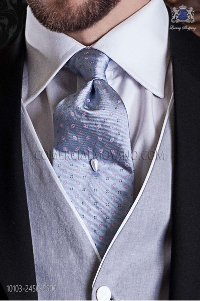 Light blue jacquard silk tie