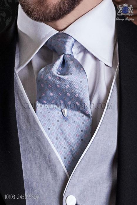 Light blue jacquard silk tie