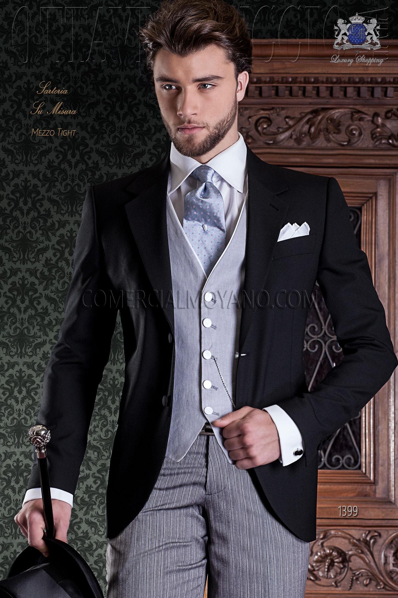 Traje de novio negro elegante corte italiano Ottavio Nuccio 1399 e8d43cb9455e