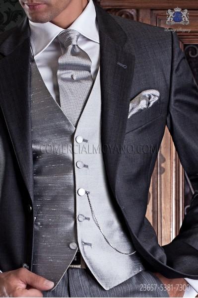 Pearl gray groom waistcoat in shantung fabric