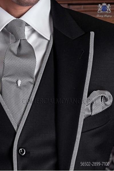 Houndstooth silk tie & handkerchief 56502-2899-7100 Ottavio Nuccio Gala.
