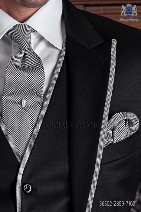 Houndstooth silk tie & handkerchief 56502-2899-7100 Ottavio Nuccio Gala