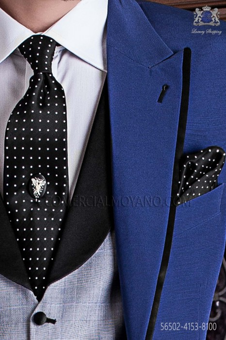 Black with white polka dots groom tie with handkerchief