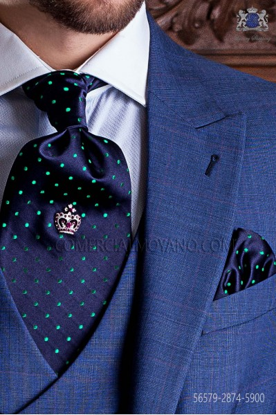 Navy blue ascot tie and handkerchief with green polka dots