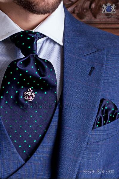 Corbatón con pañuelo azul marino de topos verdes