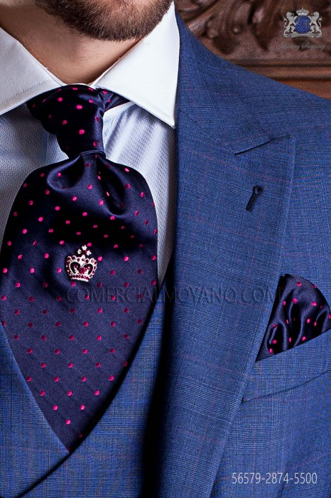 Navy blue ascot tie and handkerchief with fuchsia polka dots