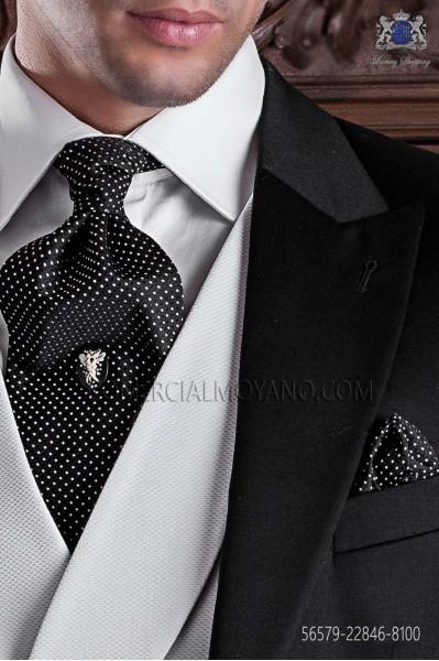 Black ascot tie and handkerchief