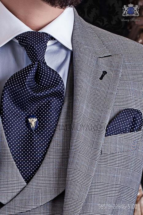 Blue ascot tie and handkerchief 56579-2846-5100 Ottavio Nuccio Gala