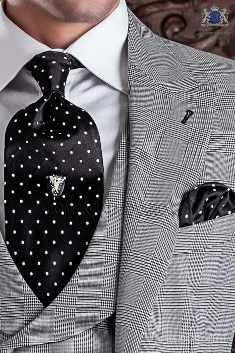 Black groom ascot tie and handkerchief with white polka dots