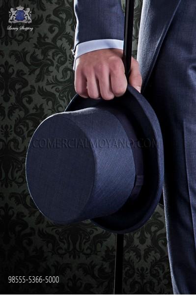 Sombrero de copa azul fil a fil