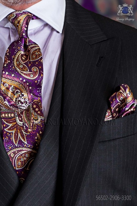 Tie with handkerchief purple and gold paisley designs