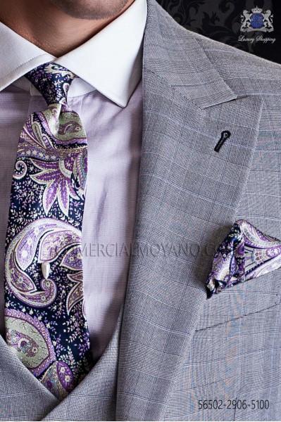 Vintage Tie with handkerchief purple and blue paisley designs