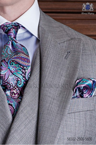 Vintage Tie with handkerchief pink and blue paisley designs