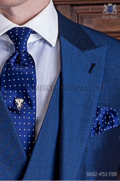 Blue with white polka dots groom tie with handkerchief