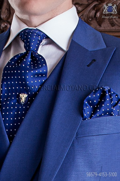 Blue with white polka dots groom ascot tie with handkerchief
