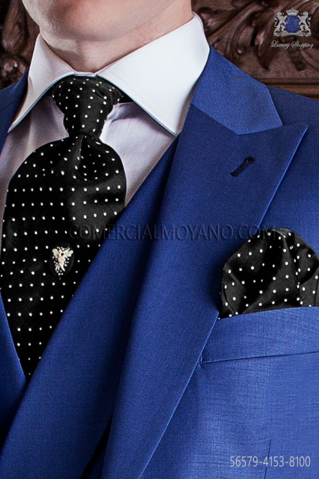 Black & white polka dots groom ascot tie with handkerchief