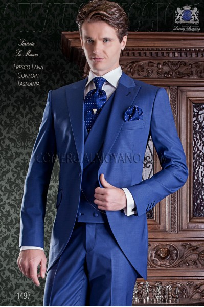 Electric blue groom short frock coat italian slim cut