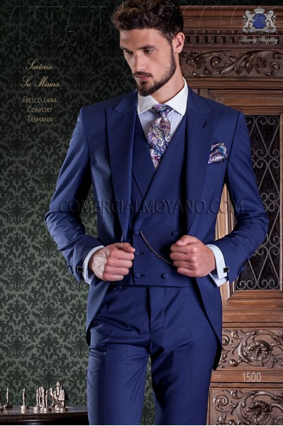 Royal blue groom short frock coat italian slim cut