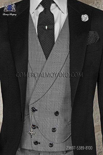 Chaleco cruzado gris lana principe de gales