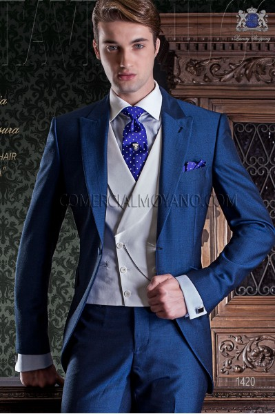 Italian royal blue mohair wool mix alpaca short frock coat wedding suit