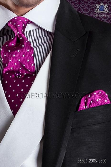 Tie & handkerchief fuchsia with white polka dots