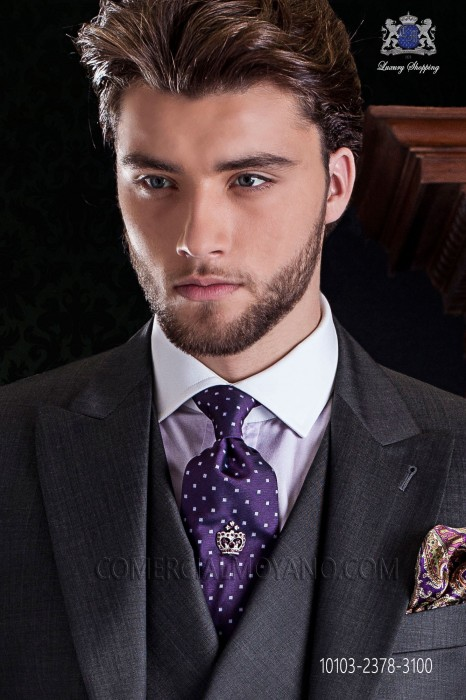 Purple with white polka dots silk tie