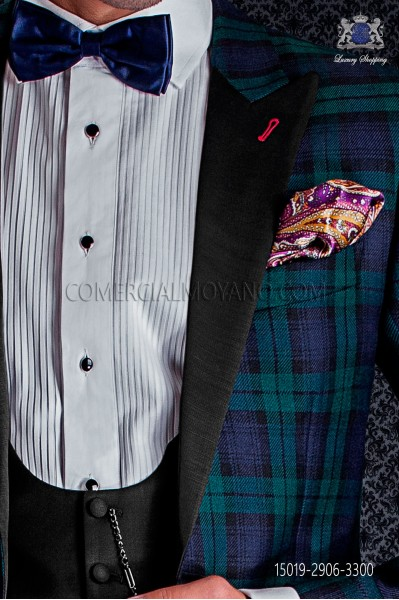 Silk pocket handkerchief purple cashmere