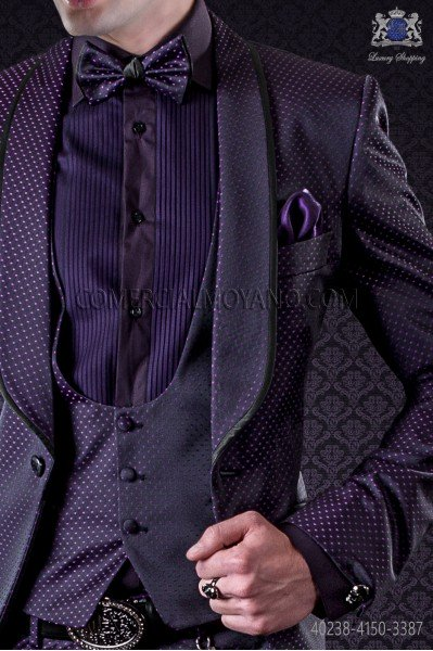 Purple shirt with pleated purple chest