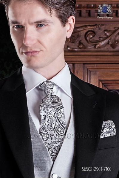 Tie and pocket handkerchief gray silk cashmere
