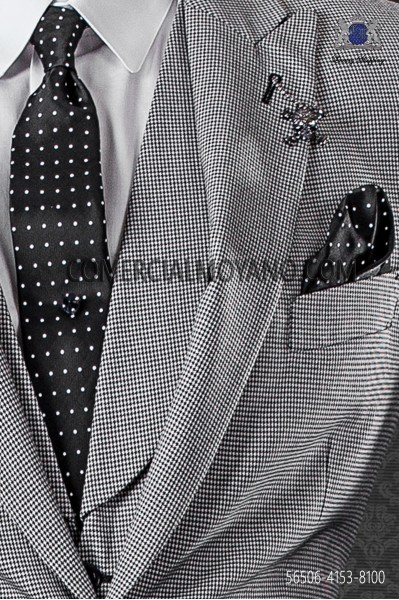 Black with white polka dots narrow tie and handkerchief